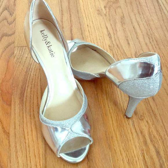 741c6f5dd29 Kelly   Katie Shoes - Silver glitter heels - wedding heels worn once!